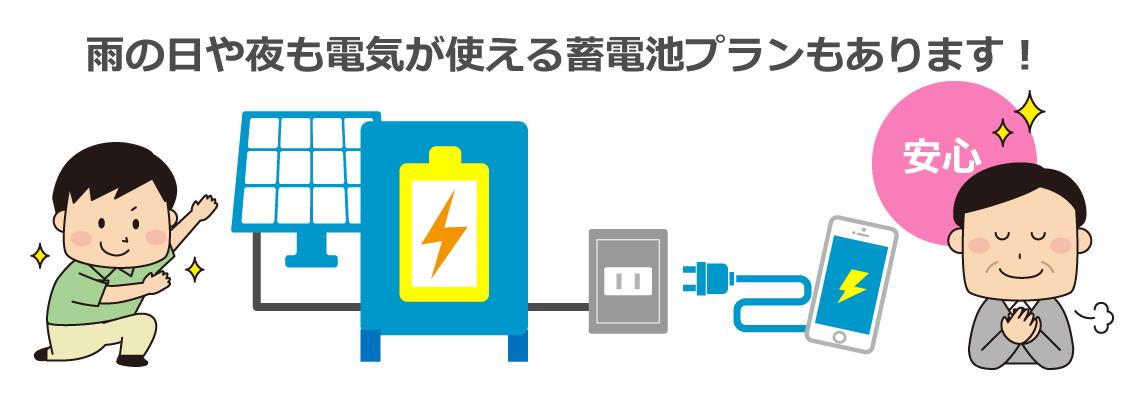 雨の日や夜も電気が使える蓄電池プランもあります!